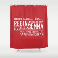 ouat Shower Curtains featuring Swan Queen Nicknames - Red (OUAT) by CLM Design