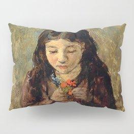 "John Everett Millais ""Florence 'Pobby' Thomas, kneeling and holding a posy of flowers"" Pillow Sham"