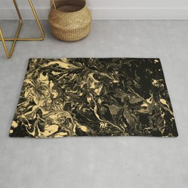 Black and Gold Marble aqrylic Liquid paint art Rug