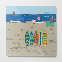 Afternoon at the beach (b) Metal Print