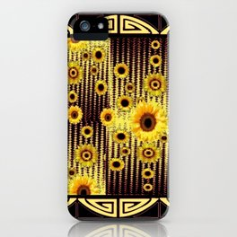 GREY ART DECO SUNFLOWERS ABSTRACT iPhone Case