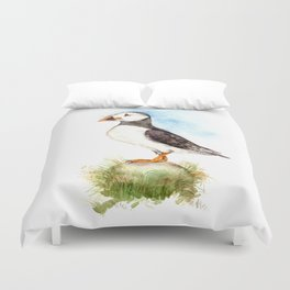Puffin on a Rock Duvet Cover