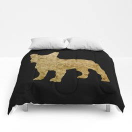 Golden Frenchie on black Comforters