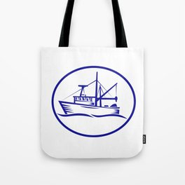 Commercial Fishing Boat Oval Woodcut Tote Bag