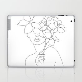 Minimal Line Art Woman with Orchids Laptop & iPad Skin