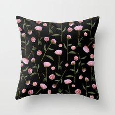 Peonies on Black Throw Pillow