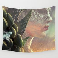 dragons Wall Tapestries featuring Dragons by Nell Fallcard