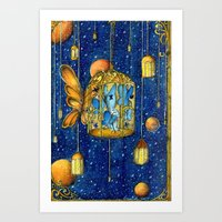 lanterns Art Prints featuring Lanterns by Anca Chelaru