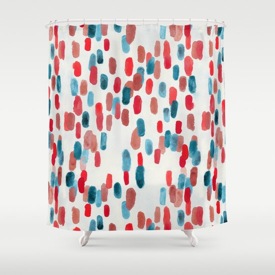 Red And Cream Shower Curtain M Style Full Bloom shower Curtain