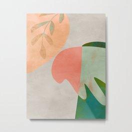 leaves minimal pastel boho Metal Print