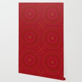 Red Lace Ornament Mandala Wallpaper