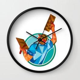 Plasterer Masonry Trowel Raise Low Polygon Wall Clock