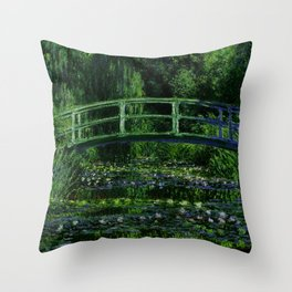 The Water Lily Pond Deep & Dark Throw Pillow