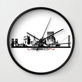 Lisbon skyline city black Wall Clock