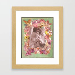 Vintage topless woman with flowers and butterflies Framed Art Print