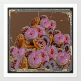 SHABBY CHIC ANTIQUE PHOTO PINK DONUTS Art Print