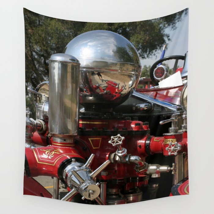 Old Fire Truck Wall Tapestry