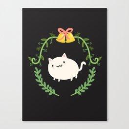 Wreath + Cat Canvas Print