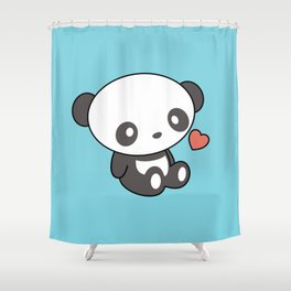 Kawaii Cute Panda With Heart Shower Curtain