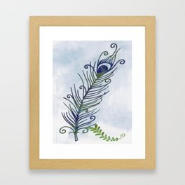 Watercolor Peacock Feather Framed Art Print
