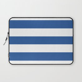 Cyan cobalt blue - solid color - white stripes pattern Laptop Sleeve