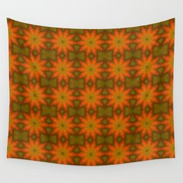 Autumnal Leaves Red and Green Repeating Pattern Wall Tapestry