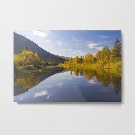 Lake reflection in autumn Metal Print