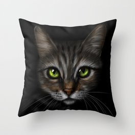 Tabby Cat - Stalking in the Dark Throw Pillow