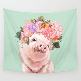 Baby Pig with Flowers Crown in Pastel Green Wall Tapestry