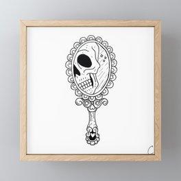 Skull in Vintage Mirror Illustration Framed Mini Art Print