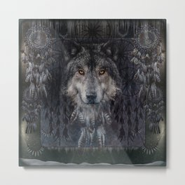 Winter mode - Wolf Dreamcatcher Metal Print