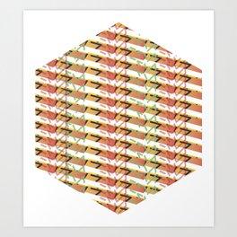 Sunset Exagon Art Print