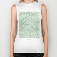 vintage map Biker Tanks featuring Paris Map Blue Vintage by City Art Posters