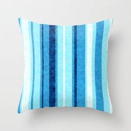 Sky Blue Grunge Stripes Throw Pillow