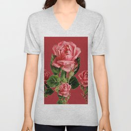 ROSE MADDER ANTIQUE VINTAGE ART PINK ROSES Unisex V-Neck