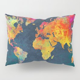 World Map blue #world #map Pillow Sham
