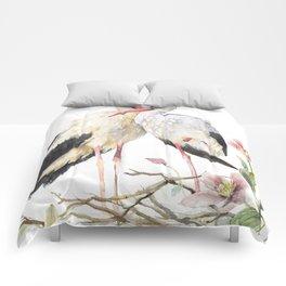 Two Storks Watercolor Painting, Wildlife Art, Clematis Plant, Wild Birds Comforters