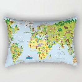 Funny cartoon world map with childrens of different nationalities, animals and monuments. Rectangular Pillow