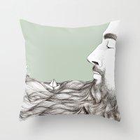 beard Throw Pillows featuring Beard  by Centprent
