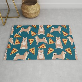 shiba inu pizza dog breed pet pattern dog mom Rug