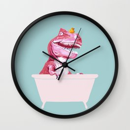 Pink T-Rex in Bathtub Wall Clock