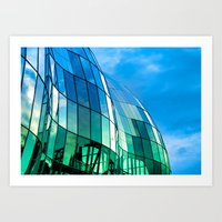The Sage Gateshead reflecting the Quayside and Tyne Bridge in Newcastle upon Tyne Art Print
