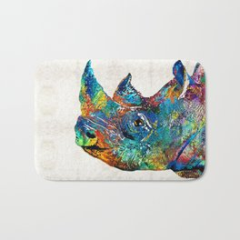 Rhino Rhinoceros Art - Looking Up - By Sharon Cummings Bath Mat