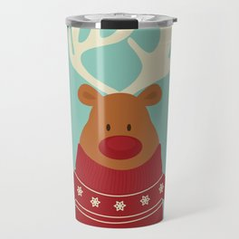 Rudolph Red Nosed Reindeer in Ugly Christmas Sweaters Travel Mug