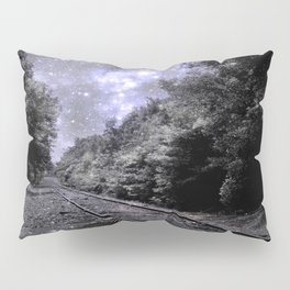 Train Tracks Next Stop Anywhere Periwinkle Gray Pillow Sham