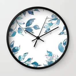 Blue leaves1 by GosiandHelena Wall Clock