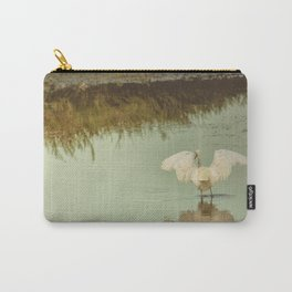 White Egret in Soft Green Pond Carry-All Pouch