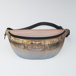 Far view at sunset of Ponte Vecchio in Florence, Italy. Fanny Pack