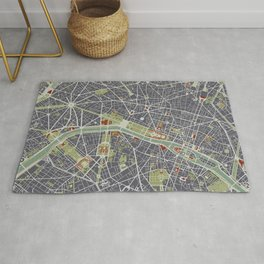 Paris city map engraving Rug