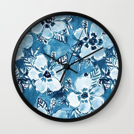 DANK DUDETTE Indigo Hibiscus Watercolor Wall Clock